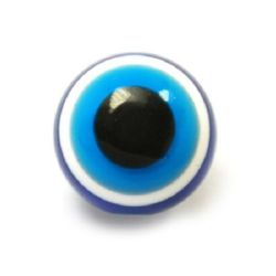 Acrylic Evil Eye Beads, Round Ball 14x13 mm hole 2 mm -10 pieces