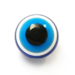 Acrylic Evil Eye Beads, Round Ball16x15 mm hole 3 mm -10 pieces