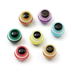Acrylic Evil Eye Beads, Round Ball 6 mm hole 1 mm MIX -50 pieces