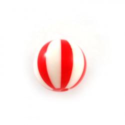 Топче резин 17 мм дупка 3 мм бяло-червено -5 броя