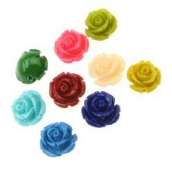Роза резин 10x12 мм дупка 1 мм цветна -10 броя