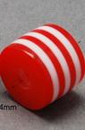 Цилиндър 9x10 мм дупка 4 мм червено с бяло райе -50 броя