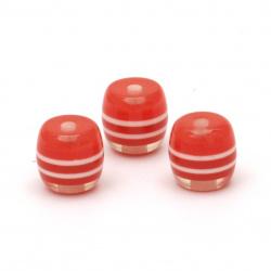 Цилиндър резин 10x10 мм дупка 2 мм бял червен -50 броя