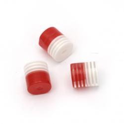 Cilindru de cauciuc margele 9x8 mm gaură 1 mm dungă albă roșie -50 bucăți