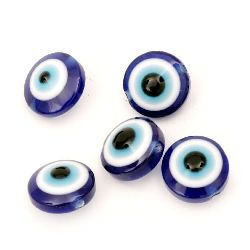 Evil eye, Beads, Flat round, Resin, Hole size 1mm, 12x7mm, 20pcs