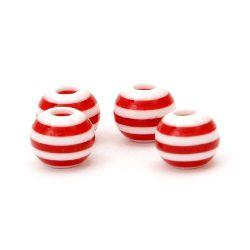 Мънисто резин топче 10x9 мм дупка 2 мм бяло с червено райе -50 броя