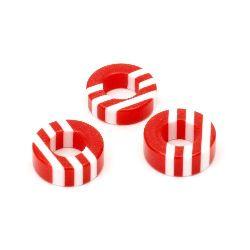 Шайба резин райе 15x6 мм дупка 8 мм червена и бяла -10 броя