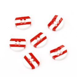 Копче резин 13x3 дупка 1 мм бяло и червено -10 броя
