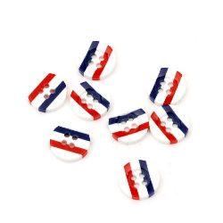 Κουμπί ρητίνη 13x3 τρύπα 1 mm λευκό μπλε κόκκινο -10 τεμάχια
