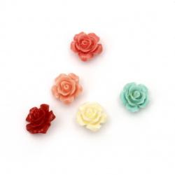 Мънисто резин роза 13x13x8 мм дупка 1 мм микс - 5 броя