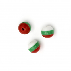 Топче резин райе 10 мм дупка 2 мм бяло зелено червено -50 броя