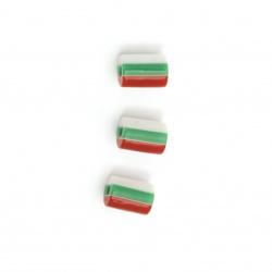 Цилиндър резин 8x6 мм дупка 1 мм райе бяло зелено червено -50 броя