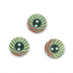 Plastic button 12.5x2.2 mm hole 1 mm multicolor - 10 pieces