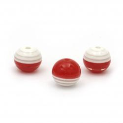 Топче 12.5x14 мм дупка 2.5 мм резин бяло и червено райе -10 броя
