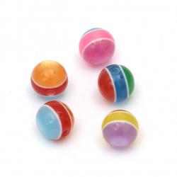 Топче 10 мм дупка 2 мм котешко око цветно МИКС - 20 броя