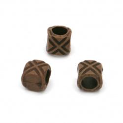 Мънисто Антик цилиндър 8x8 мм дупка 5 мм кафяво -50 грама ~157 броя