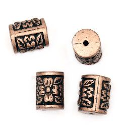 Antique acrylic cylinder beads11x14x12 mm hole 2 mm color antique copper - 50 grams ~ 35 pieces