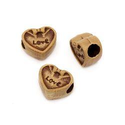 Мънисто Антик сърце 12x11x7 мм дупка 4 мм кафяво -50 грама ~ 80 броя