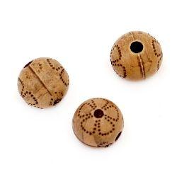 Мънисто Антик топче 10x10 мм дупка 2 мм кафяво -50 грама ~ 75 броя