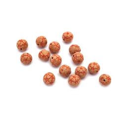 Мънисто Антик топче 12 мм дупка 2 мм кафяво -50 грама ~ 46 броя