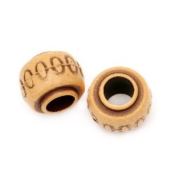 Antique acrylic cylinder bead 14x12 mm hole 6 mm brown - 50 grams ~ 36 pieces