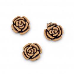 Мънисто Антик роза 8x2.5 мм дупка 3 мм кафяво -50 грама ~ 45 броя