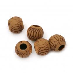 Мънисто Антик топче 11.5x10 мм дупка 4.5 мм кафяво -50 грама ~57 броя