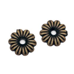 Margele Antic floare 18x3,5 mm gaura 3 mm maron -50 grame ~ 88 buc