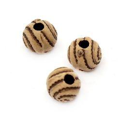 Мънисто Антик топче 7 мм дупка 2 мм кафяво - 50 грама ~ 186 броя
