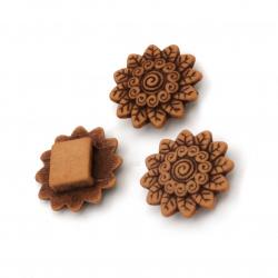 Мънисто Антик цвете 21x7 мм дупка 7 мм кафяво - 50 грама ~ 40 броя