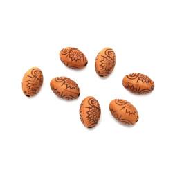 Margel Antic oval cu flori 11x8 mm gaură 2 mm maron -50 grame ~ 130 bucăți