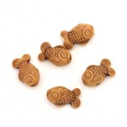 Мънисто Антик риба 15x9 мм дупка 2 мм оранжево -50 грама ~110 броя