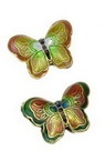 """Margele  forma fluture metalice pictate """"Cloisonne"""" 17x23x5 mm"""