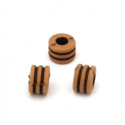 Мънисто Антик шайба 6x8.5 мм дупка 4 мм кафяво -50 грама ~ 88 броя