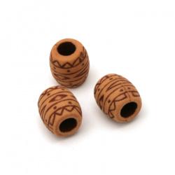 Мънисто Антик цилиндър 10.5x10 мм дупка 5 мм кафяво -50 грама ~ 64 броя