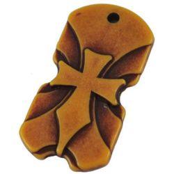 Antique acrylic pendant 42x22x5mm hole 2.5 mm brown - 50 grams - 17 pieces
