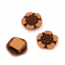 Мънисто Антик цвете 19x8 мм дупка 3x8 мм кафяво -50 грама ±47 броя