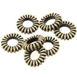 Margel Inel Antic 4x16 mm gaură 1 mm maron -50 grame ~ 85 bucăți