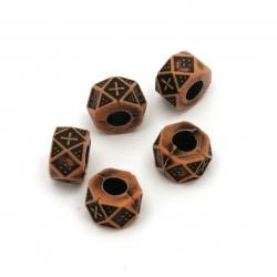 Bead Spălător Antic 6x9 mm gaură 4 mm maron -50 grame ~ 130 bucăți