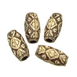 Antique acrylic cylinder  bead 19x9 mm hole 4 mm brown - 50 grams ~ 42 pieces