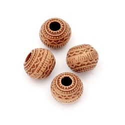 Мънисто Антик топче 11x9 мм дупка 4 мм кафяво -50 грама ~65 броя