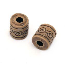 Margele Antic cilindru 12x12 mm gaura 4 mm maron -50 grame ~ 34 buc