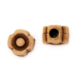 Antique Acrylic Beads flower 11x7 mm hole 4 mm brown -50 grams ± 90 pieces