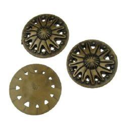 Margele Antic cilindru 40x7 mm maron -50 grame ~ 11 buc