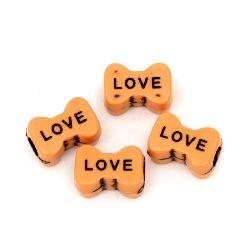 "Antique ribbon bow bead with inscription ""Love"" 14x10 mm hole 4.5 mm color orange - 50 grams ~ 80 pieces"