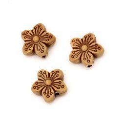 Margele Antic  floare 15x14x7 mm gaura 2 mm culoare maron -50 grame ~ 48 buc