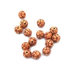 Margele Antic fotbal bila 9 mm gaura 1,5 mm maron -50 grame ~ 90 buc