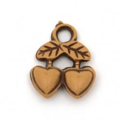 Antique acrylic pendant cherry heart 21x17.5x6 mm hole 3 mm color brown - 50 grams ~ 60 pieces