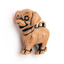 Мънисто Антик куче 45x40x28 мм дупка 4 мм кафяво -53 грама -4 броя