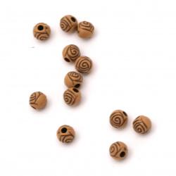 Мънисто Антик топче роза 6x6 мм дупка 1.5 мм кафяво -50 грама ~560 броя